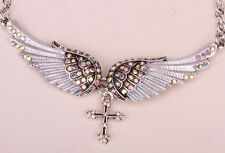 Angel wing cross necklace chocker biker bling jewelry gifts for women QNC01 US