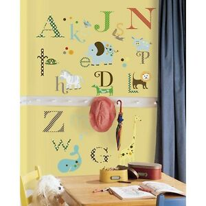 ANIMAL ALPHABET WALL STICKERS 107 NEW Letters Animals Decals Baby Nursery Decor