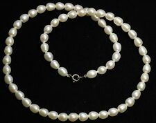 Vintage Hand Knotted Cultured Freshwater Potato Baroque Pearl Bead Necklace 925