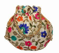 Designer Embroidery Silk Potli Bag Pearl Handle Purse Stylish Women's Handbag 8H