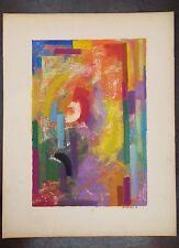 Raymond TRAMEAU huile sur papier 1950 figuratif abstraction musicaliste  P 1049