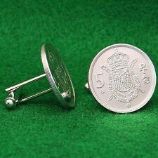 Spanish Coin Cufflinks, Coat of Arms King of Spain 5 Pesetas
