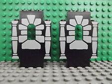 2 LEGO Castello Nero Pannello Muro pezzi finestra pietre colonne PATTERN 4444pb04