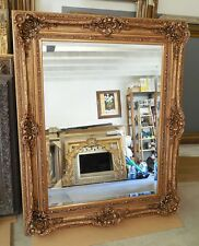 """Large Wood/Resin Louis XV """"45x55""""  Rectangle Beveled Framed Wall Mirror"""
