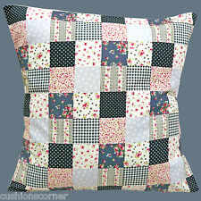 "BRAND NEW Shabby Chic Spots Gingham Flowers Patchwork Cotton 16"" Cushion Cover"