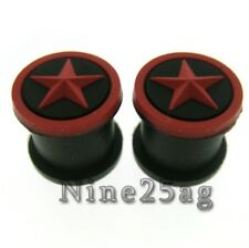 PAIR STAR 2G 6MM SOFT SILICONE BLACK/RED PLUGS PLUG