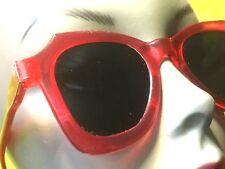 FRENCH 1940s WOMEN PIN-UP SUNGLASSES~GLAMOROUS RED LUCITE FRAME~GLASS LENSES~NEW