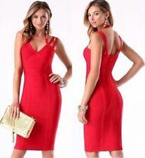 NWT bebe red straps halter v neck bandage sexy top skirt midi dress XS 0 2 club