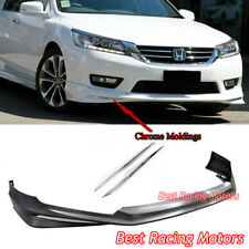 Modulo Style Front Bumper Lip (PP) + Chrome Moldings Fits 13-15 Honda Accord 4dr