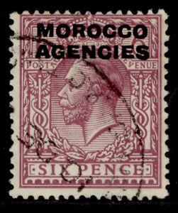 MOROCCO AGENCIES GV SG48, 6d reddish purple, FINE USED. Cat £16.