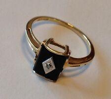 10K YELLOW GOLD BLACK ONYX AND DIAMOND RING SIZE 6