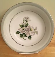 VTG! WHITE ROSE PLATINUM 3939 by JAPAN FINE CHINA ROUND SERVING VEGETABLE BOWL