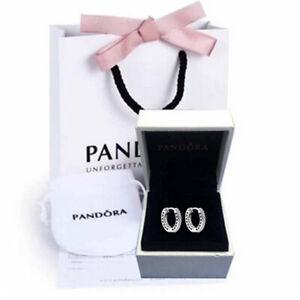 Genuine Pandora sterling silver asymmetric love heart earrings ALL 925