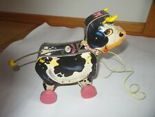 Fisher Price #155 Moo-Oo Cow Wood Vintage 1958 Pull Toy Farm Animal