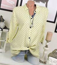 ITALY Hemd PUNKTE Bluse VINTAGE Fischerhemd SHIRT Gelb Blau Oversize DOTS 36 38