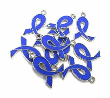 10 pcs Blue Ribbon Colon Cancer Awareness Enamel Charms 21mm x15mm New
