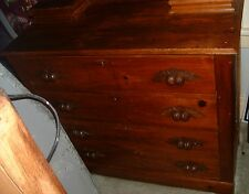 Antique solid knotty pine primitive dresser with carved pulls > Pegged !