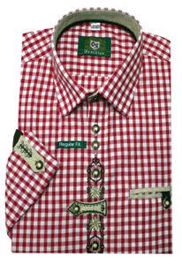 Orbis Trachtenhemd rot weiß kariert mit Stickerei Krempelarm OS-0252 Regular Fit