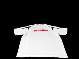 Under Armour Men Size XL White NCAA Ole Miss Rebels Short Sleeve Heat Gear Shirt