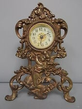 Antique Victorian Brass Alarm Clock W/ Cherub