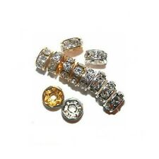 RHINESTONE JEWELRY CRYSTAL RONDELLES SPACER BEAD 8MM 50 BEADS SILVER COLOR RC7