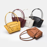 Small Real Leather Trapeze Single Shoulder Bag Purse Tote 2 Top Handles Travel