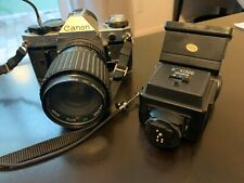 Cannon AE-1 Vintage Camera with Zoom Lens and Rokunar Flash