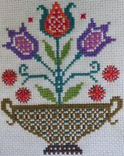 Floral Cross Stitch Finished Tulips Vase Multi Color Folk Art Amish Vintage Gvc