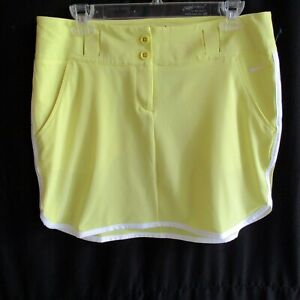 Nike Golf Skirt Neon M Solid Yellow White Trim Tour Unlined Tour Line