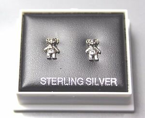 STERLING SILVER 925, STUD EARRINGS, TEDDY BEAR , BUTTERFLY BACKS,  STUD 209