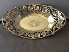 ANTIQUE STERLING SILVER Dish w/Grapes & Ivy Repousse Design *Rare* Shaw & Berry