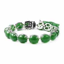Jade Bracelet with Dragon Charm in Sterling Silver (7.25 In) 105.5 ctw
