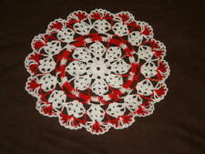 New listing New Hand Crocheted Doily - white Angel love multi-color Valentines red