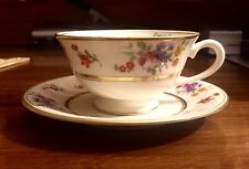Coxon Belleek Floral Bouquet D-1025 on Ivory: Flat Cup and Saucer Set (s)
