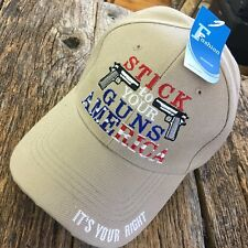 MERICA' TAN Stick To Your Guns America It's Your Right HAT BALL CAP USA NEW -F