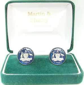 AUSTRALIA  Cufflinks made from old Australian coins in Blue and Silver