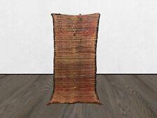 Moroccan 8x3 ft Berber vintage rug, tribal Handmade azilal wool worn boho rug