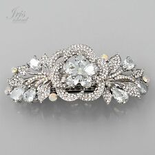 Rhodium Plated Clear CZ Rhinestone Crystal Flower Barrette Hair Clip pin 03563