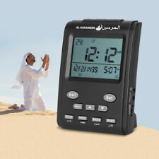 Black Islamic Azan Time Alarm Table Clock Muslim Athan Adhan Prayer LCD Display