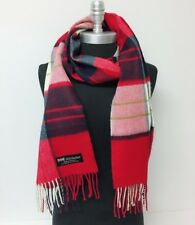 Women's 100% CASHMERE SCARF Plaid Red Navy Cream Green Scotland SOFT Wool Wrap