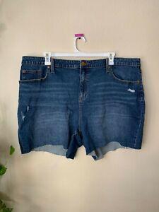 Universal Thread Womens Plus 20W 22W 24W Jean Shorts Boyfriend Blue Distressed