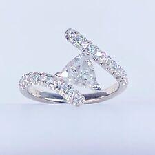 Rare Trillion Cut 1 Carat Diamond Engagement Bypass Ring 14k White Gold