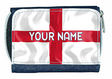ENGLAND ST GEORGE'S FLAG PERSONALISED LADIES / GIRLS DENIM PURSE- NAMED GIFT
