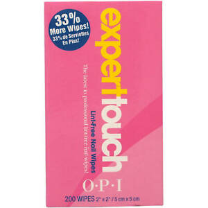OPI Expert Touch Lint Free Nail Wipes 200 wipes Brand New in Sealed Box