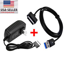 AC Charger + USB Data Sync Cable For ASUS Transformer PAD TF101 TF201 TF300T/700