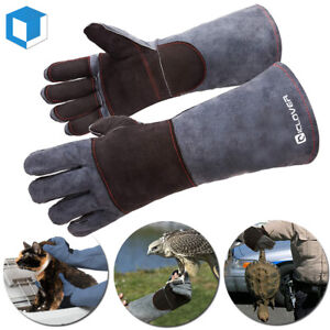 16IN Leather Gloves Animal Handling Dog Cat Scratch Snake Bite Proof Long Mitts