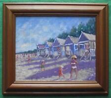 Beach Huts Wells on Sea Original Framed Impressionist Oil Painting David Baxter