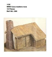 WWII diorama house trunk wood chimney roof 1/35 ruins building