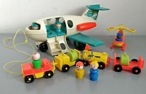 Vintage 70's Fisher Price Jet Plane, Helicopter, People, Transport & Luggage