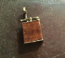 Vintage Parker Beacon Dunhill Lift Arm Lighter Brown Snake Skin Wrapped Working
